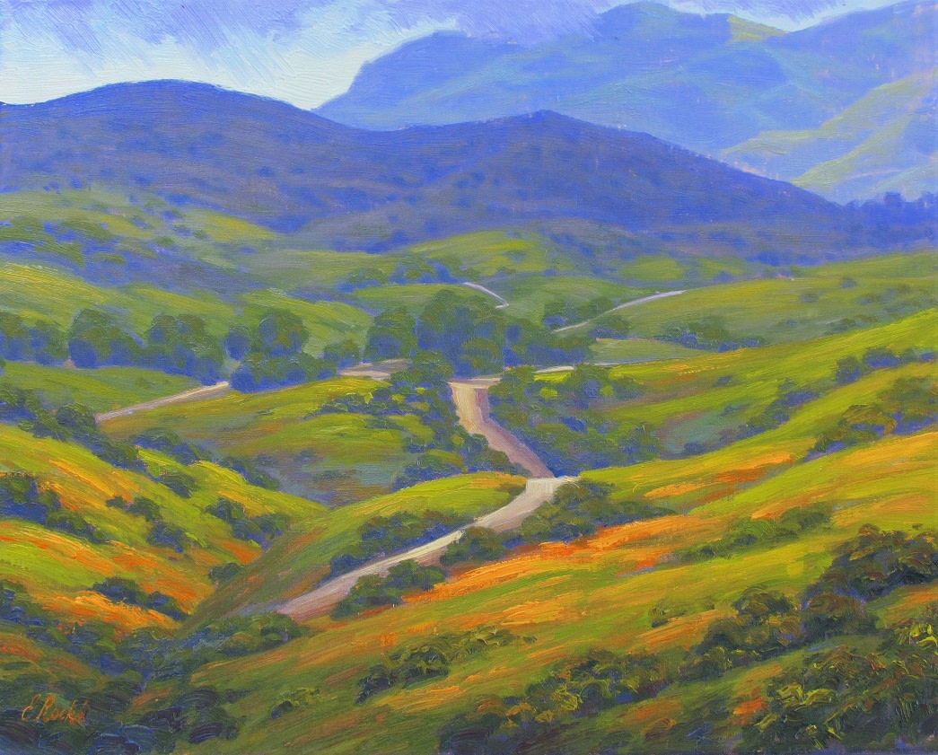 Image of a painting that illustrates Rancho Sierra Vista's spring landscape
