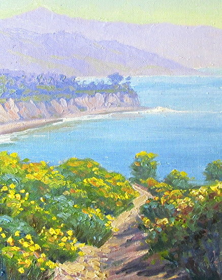 Image of a painting that depicts Point Dume area full of wildflowers