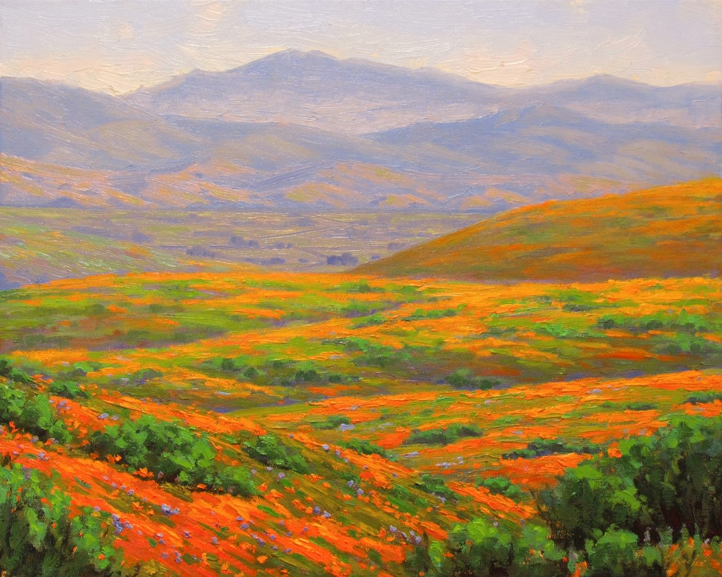 Image of a painting that depicts Antelope Valley Poppy Preserve in fool bloom