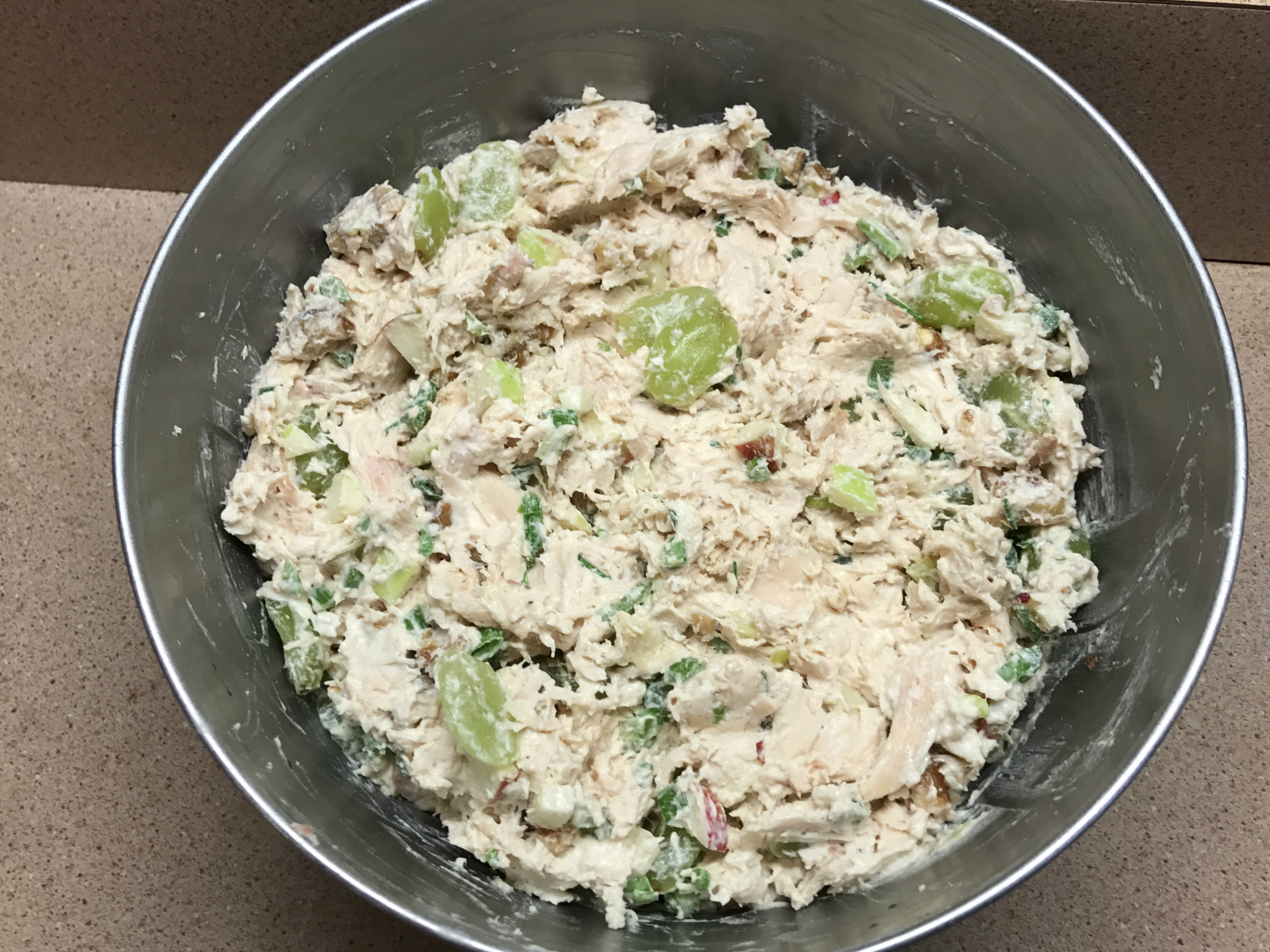 ckicken salad mixed in bowl