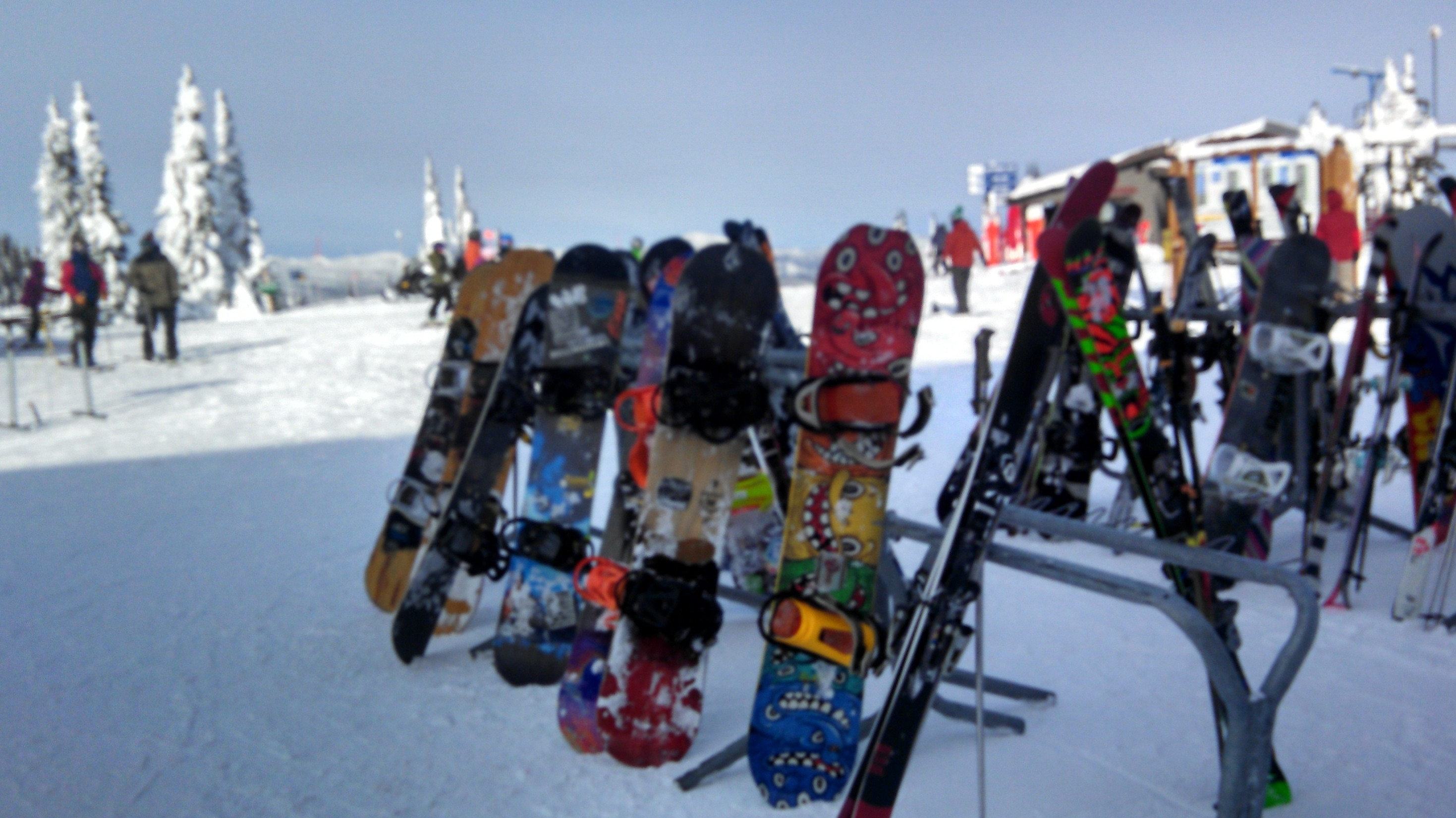 Colorful snowboards at the Summit