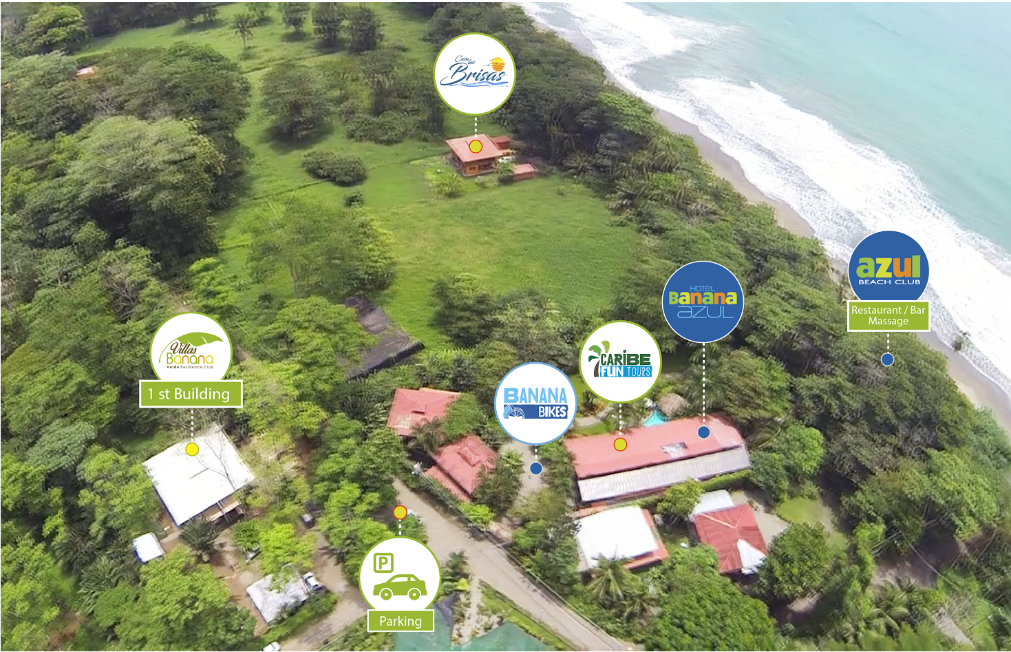 Overhead view of Banana Azul property