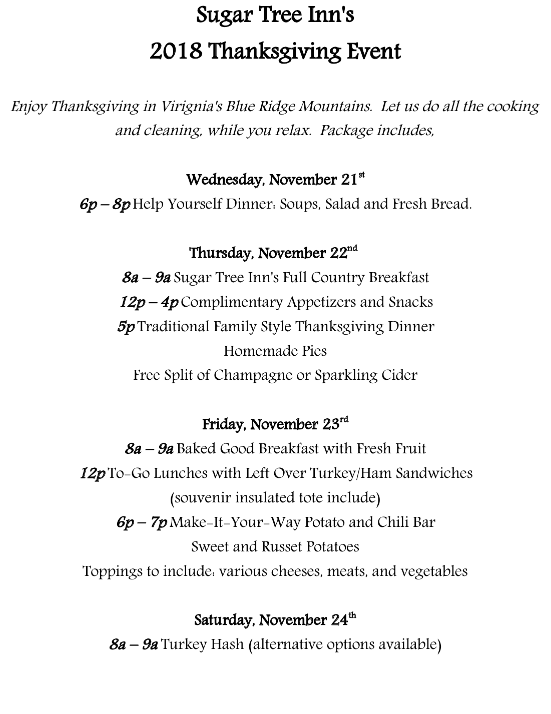Thanksgiving Event Menu and Schedule