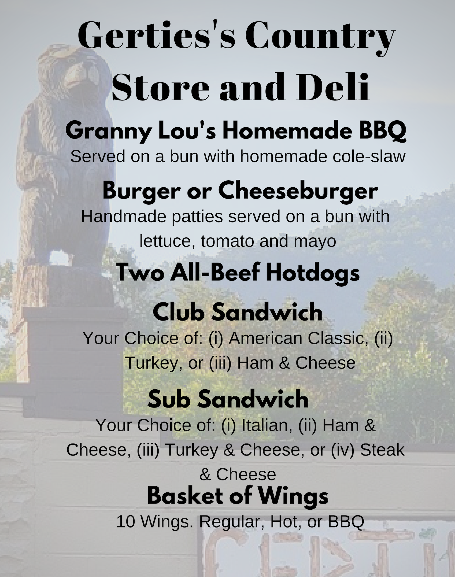 Gertie's Country Store and Deli Menu