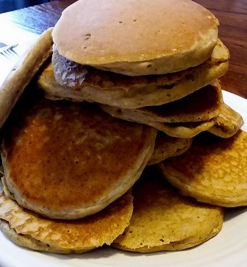large stack of homemade pancakes