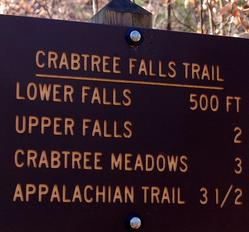Crabtree Falls, Virginia Trail Sign