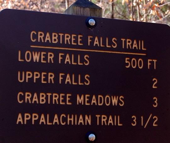 Crabtree Falls, Virginia trail sign