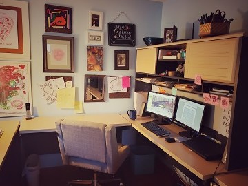 My Office view, desk with picture wall