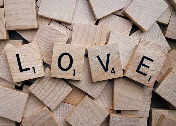 Scrabble Tiles spelling LOVE