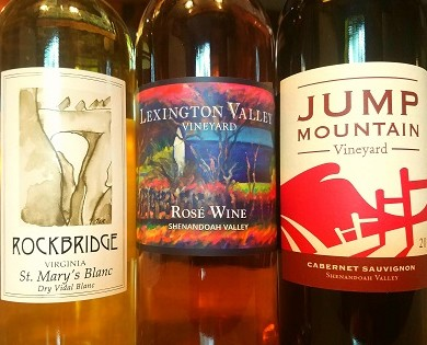 Rockbridge Vineyard wine bottle, Jump Mountain wine bottle, and Lexington Valley Vineyard wine bottle