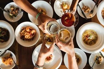 Celebration cheers toast over harvest dinner