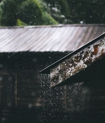 rain pouring off a metal roof line