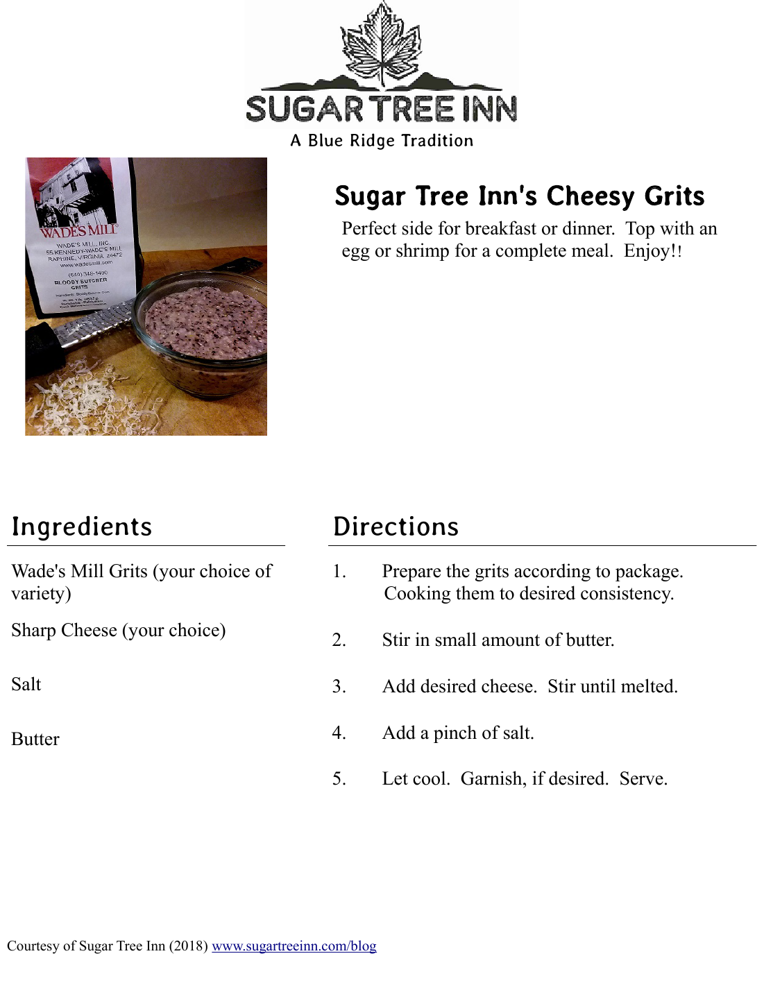 Sugar Tree Inn's recipe for cheesy grits