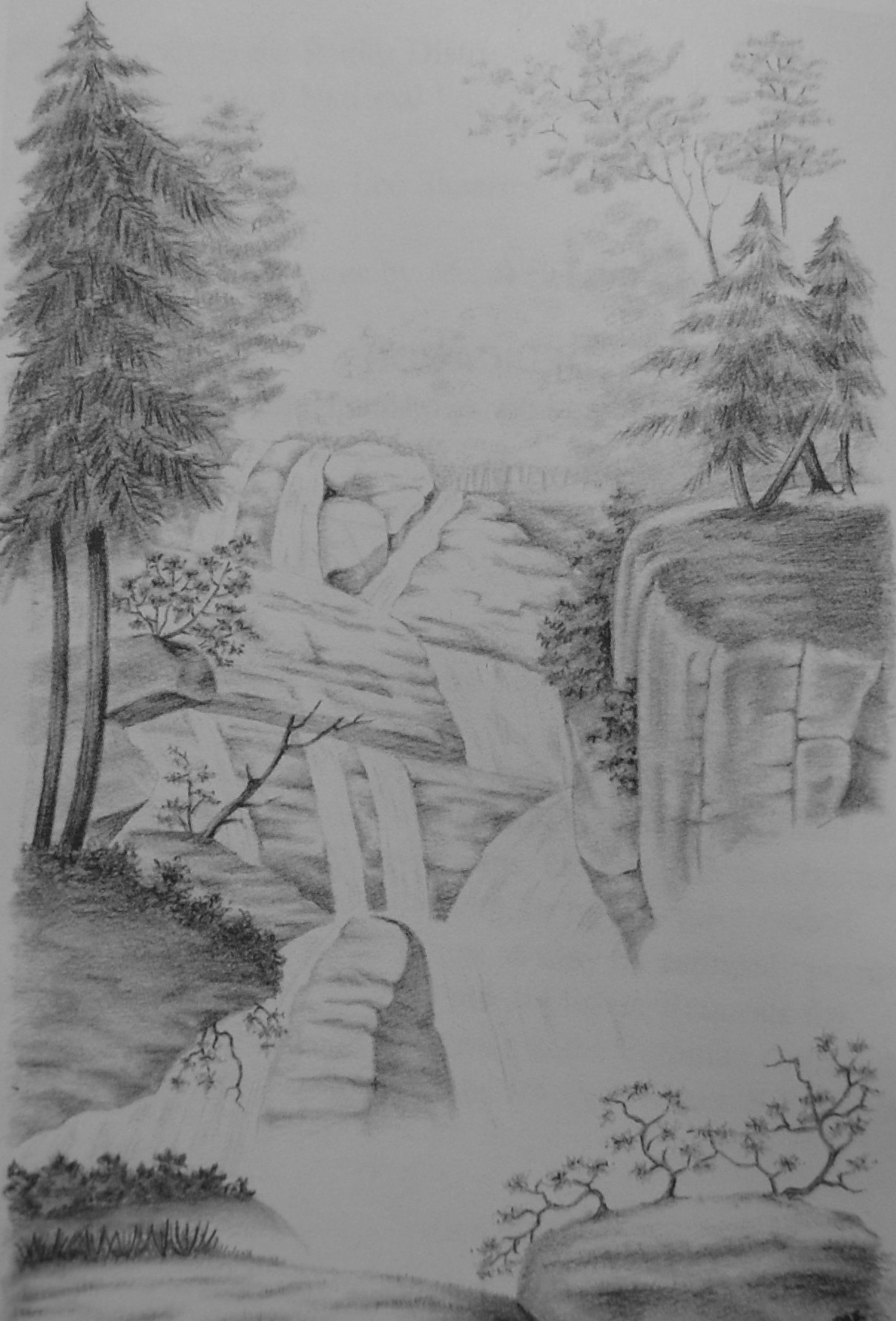 Black and white pencil sketch of Crabtree Falls in Virginia