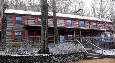 Sugar Tree Inn Lodge with dusting of snow