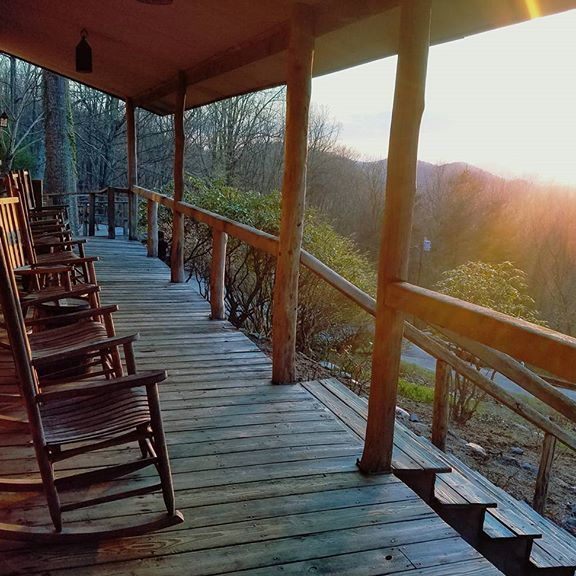 Rocking chair lined front porch overlooking the Shenandoah Valley