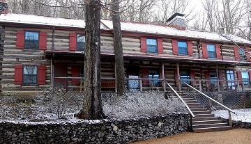 Sugar Tree Inn's main lodge with dusting of snow