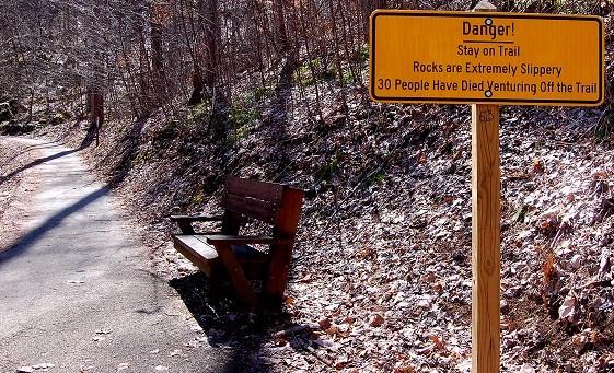 Danger sign at Crabtree Falls, Virginia