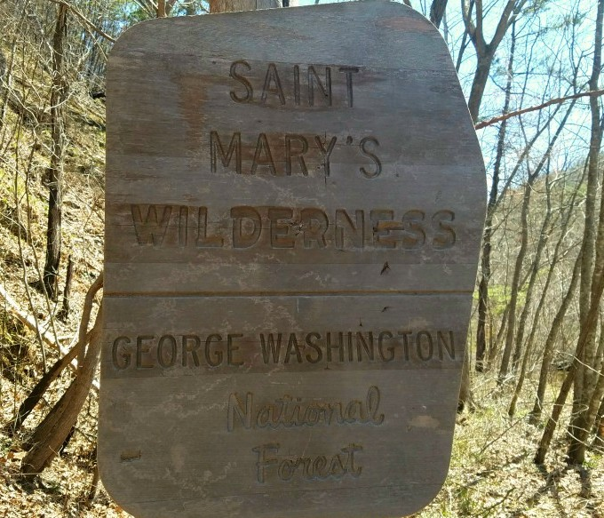 Saint Mary's Wilderness sign