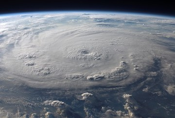 satelite picture of hurricane clouds over earth
