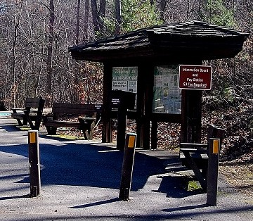 Crabtree Falls, Virginia entrance station with paying kiosk