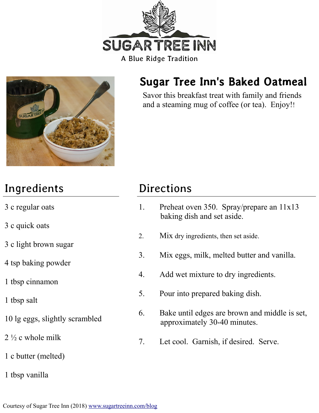 Sugar Tree Inn's Baked Oatmeal Recipe