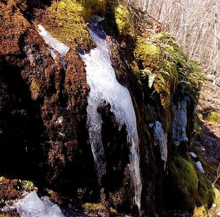 Icicles on rocks at Crabtree Falls, Virginia