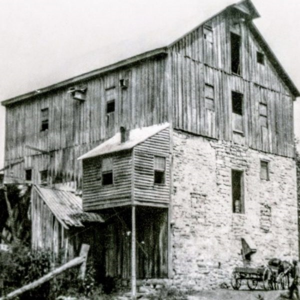 old black and white image of Wade's Mill in Raphine, Virginia