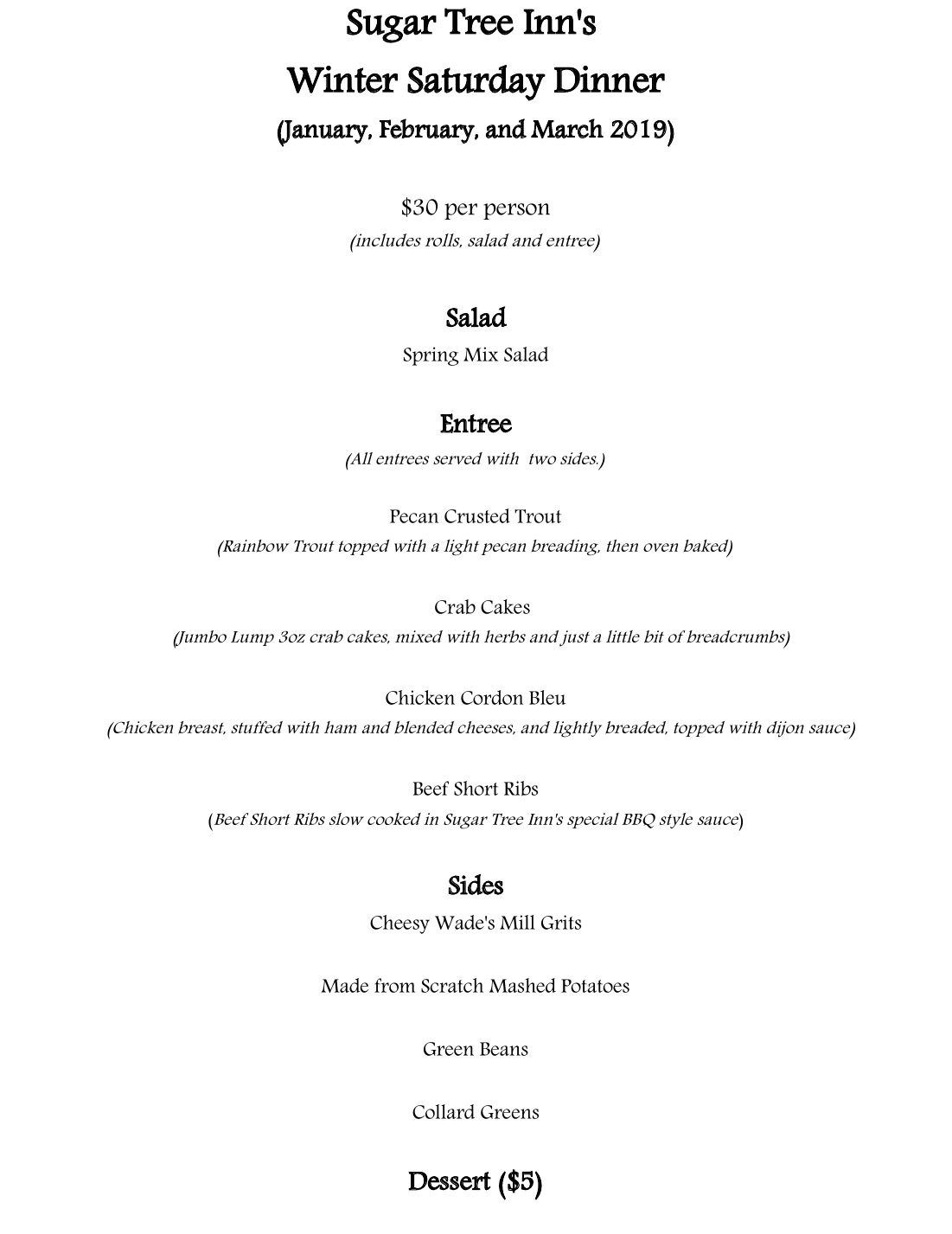 Sugar Tree Inn's Winter Weekend Menu