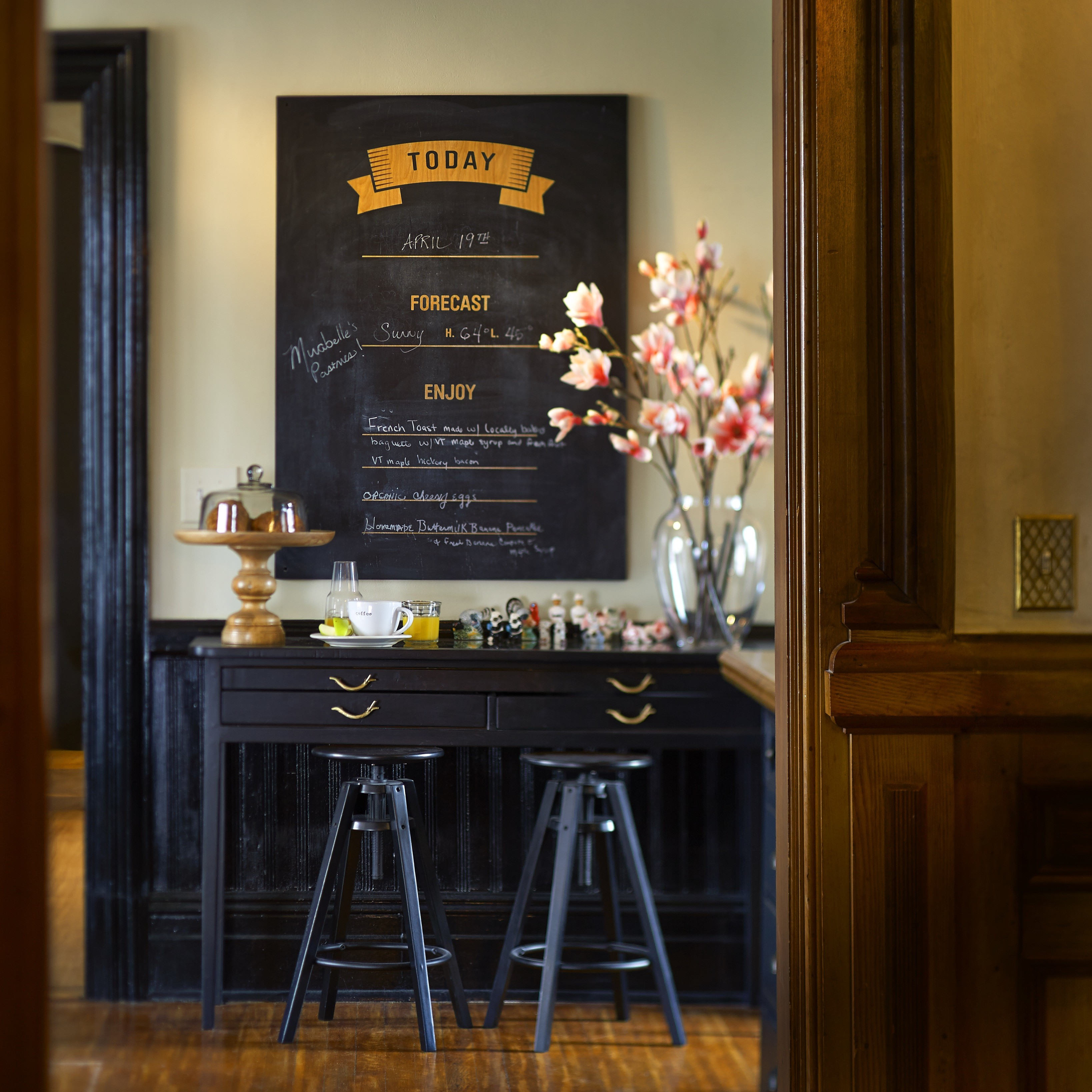Dining room hot chocolate menu board