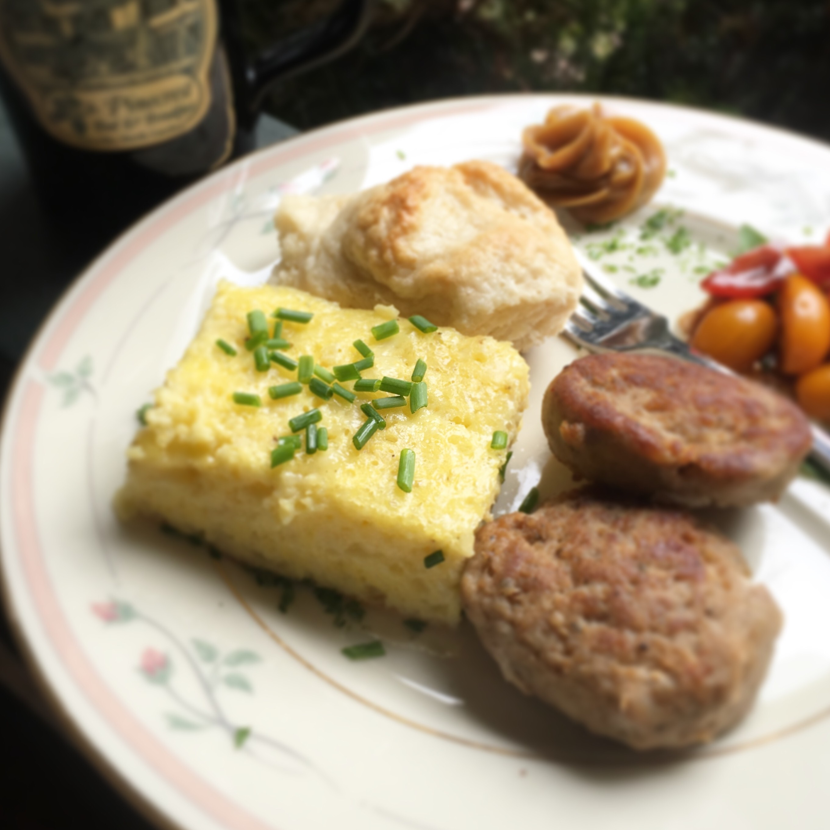 plate of eggs, sausage, potatoes at Pinecrest B&B