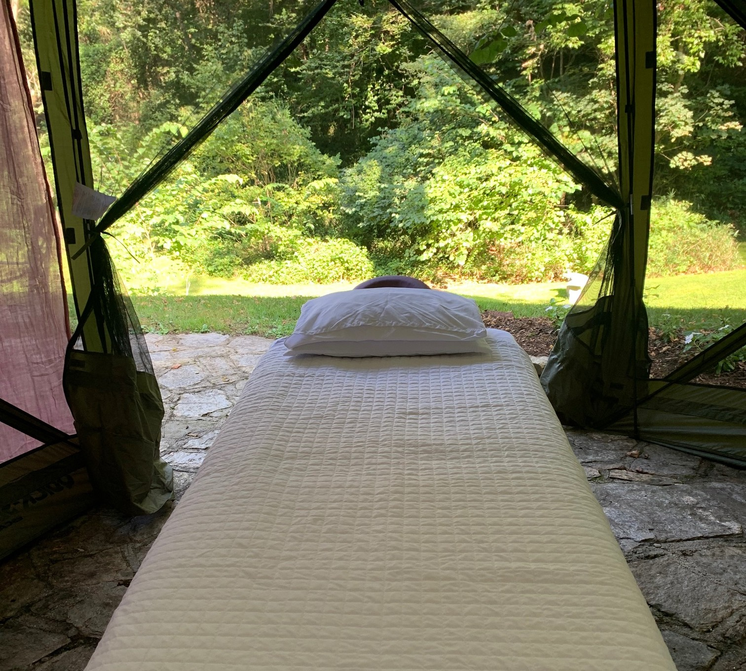 massage table in backyard at Pinecrest