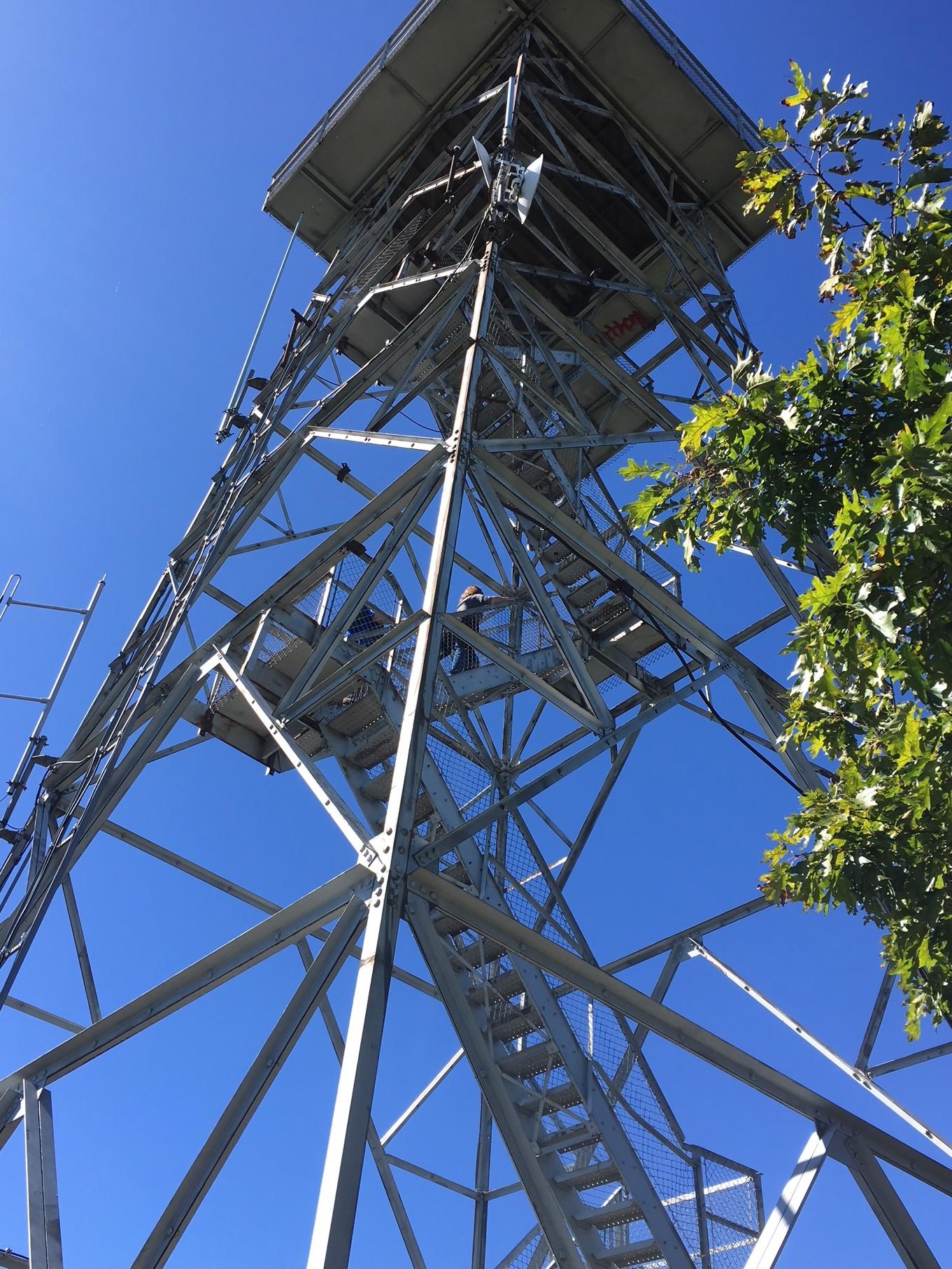 view looking up Fryingpan Mountain Tower