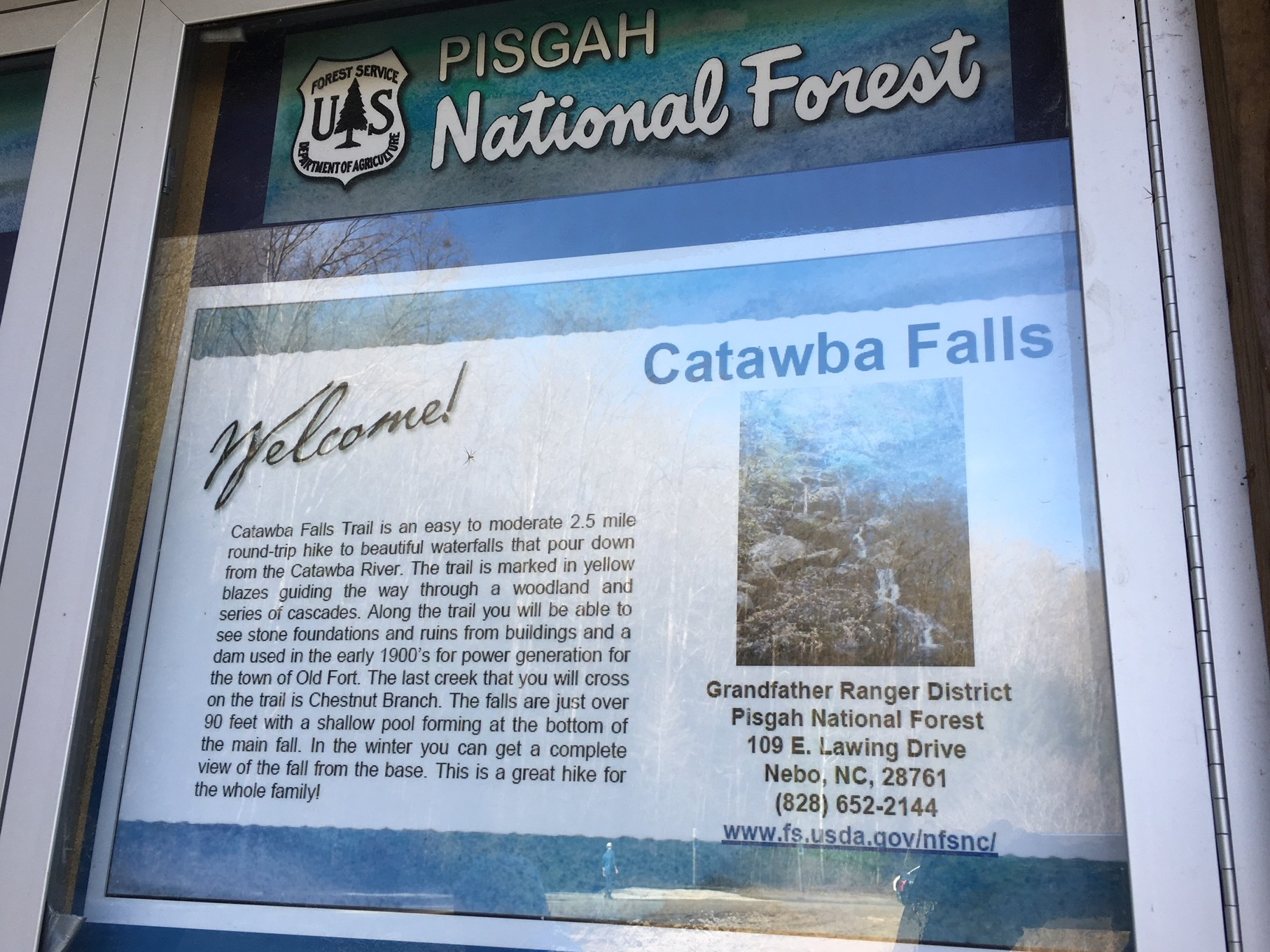 photo of trail head map at Catawba Falls