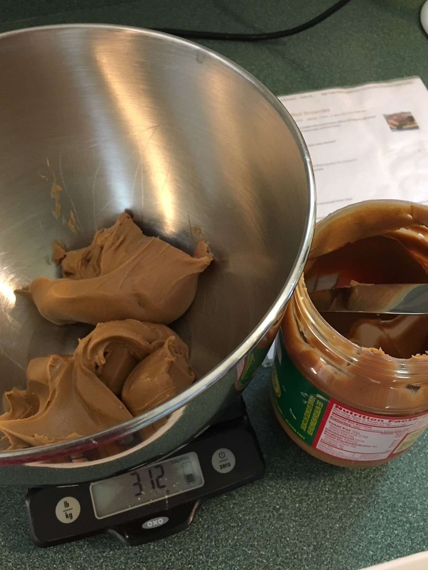 Measuring peanut butter using scales