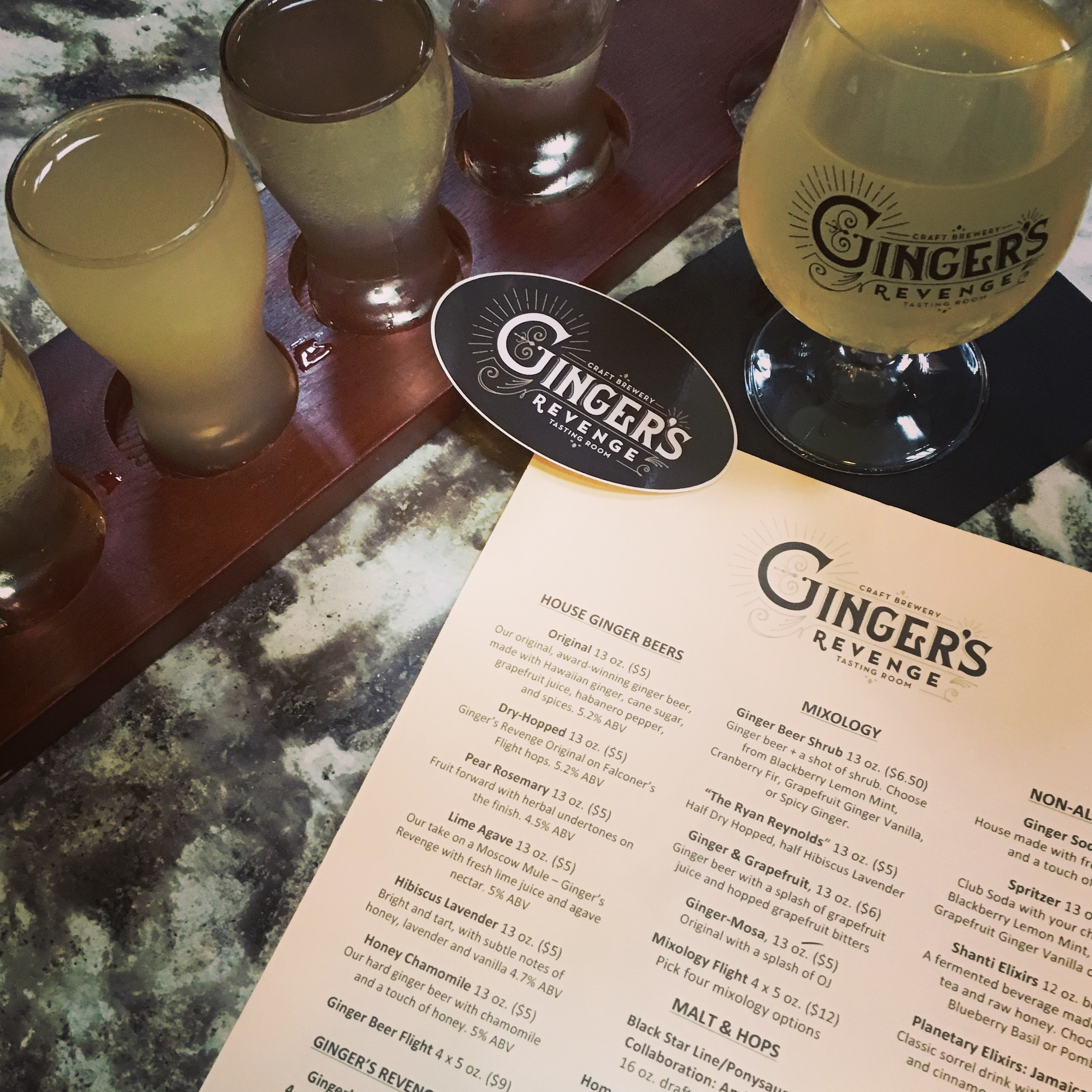 photo of ginger beer flight