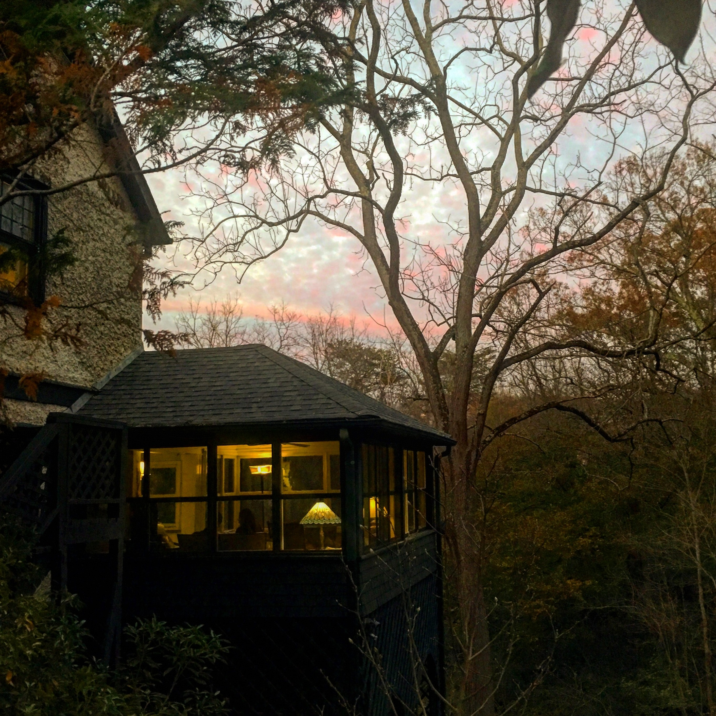 sunset view of Pinecrest sunporch