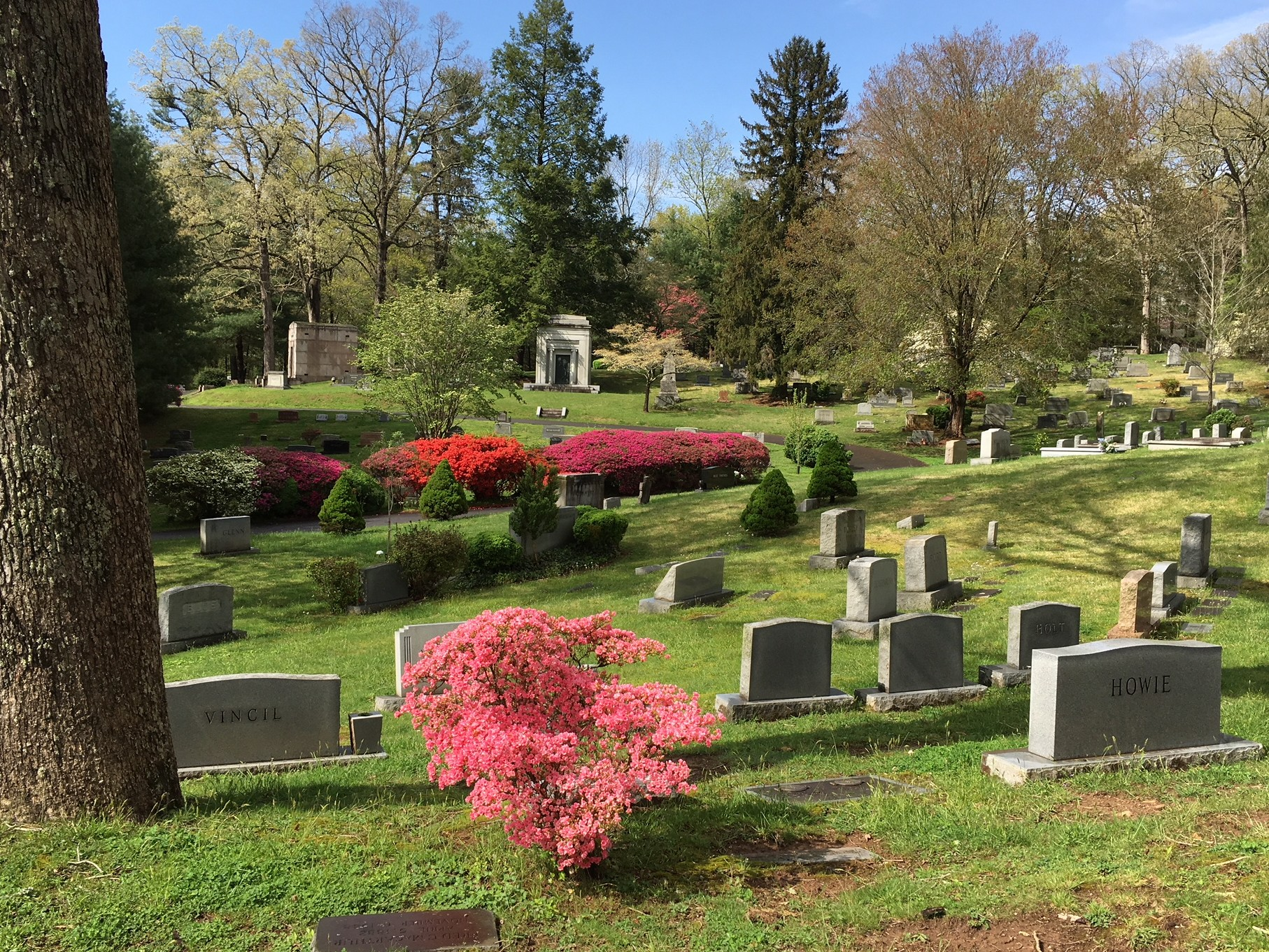 Riverside cemetary in spring with blue skies and headstones