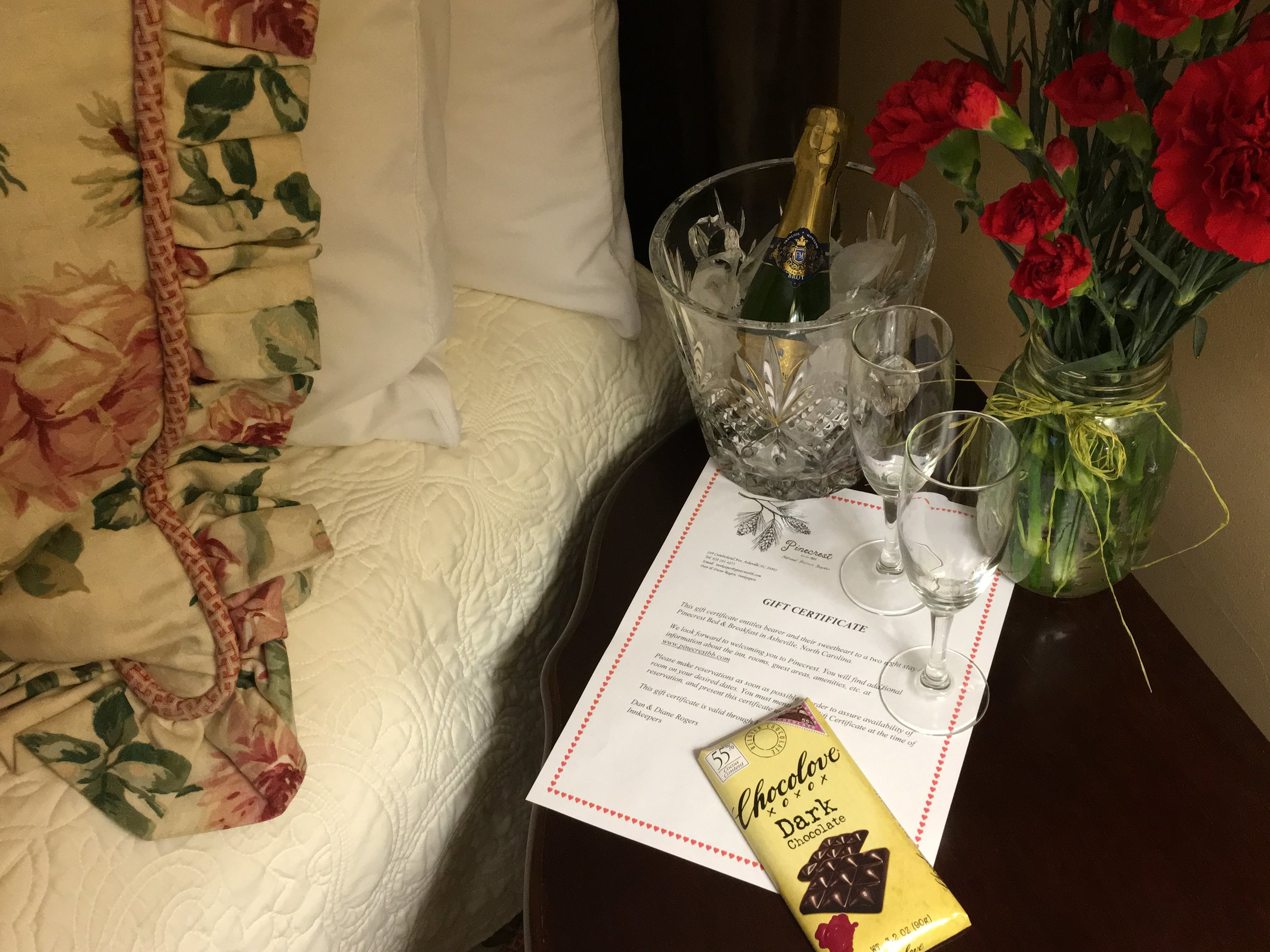 gift certificate laying on nightstand