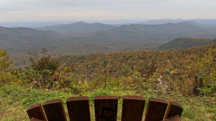 adirondack chair looking at mountains