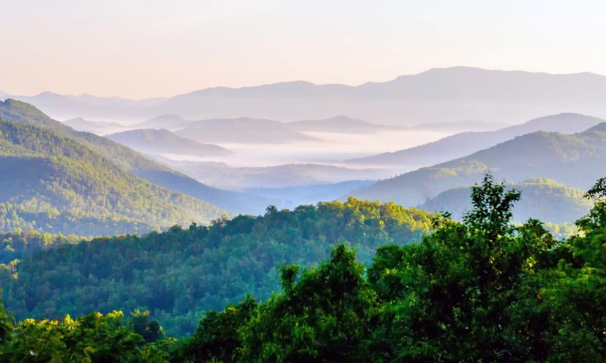 Blue Ridge Mountains green rolling hills