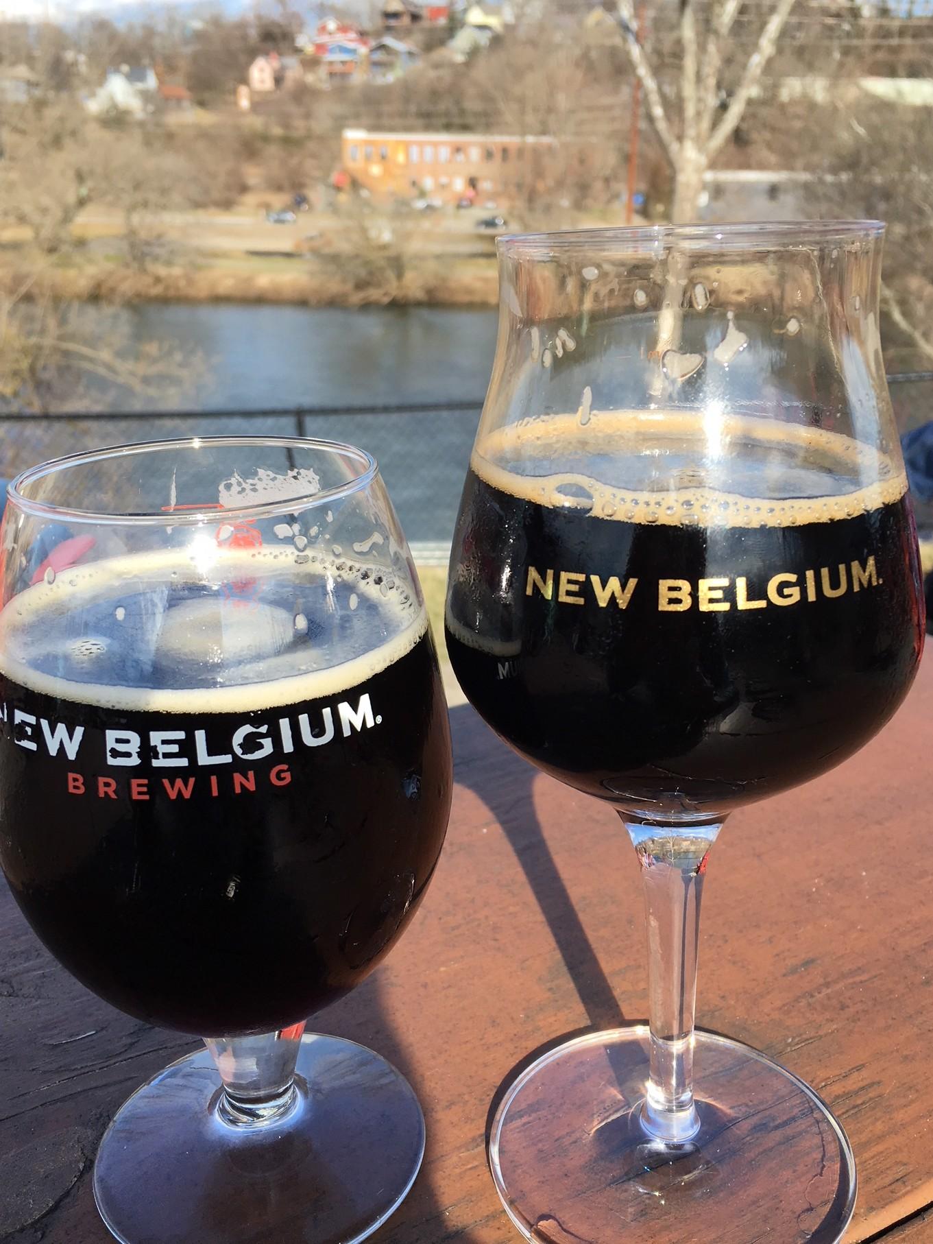 two New Belgium beers overlooking river