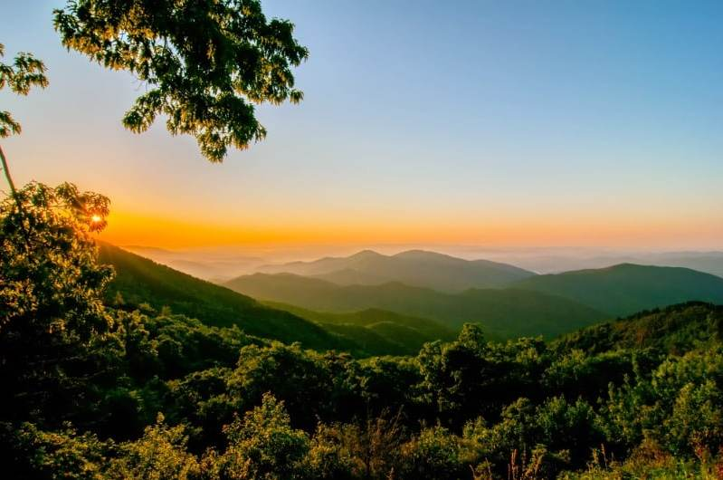 Asheville Blue Ridge Mountain sunset