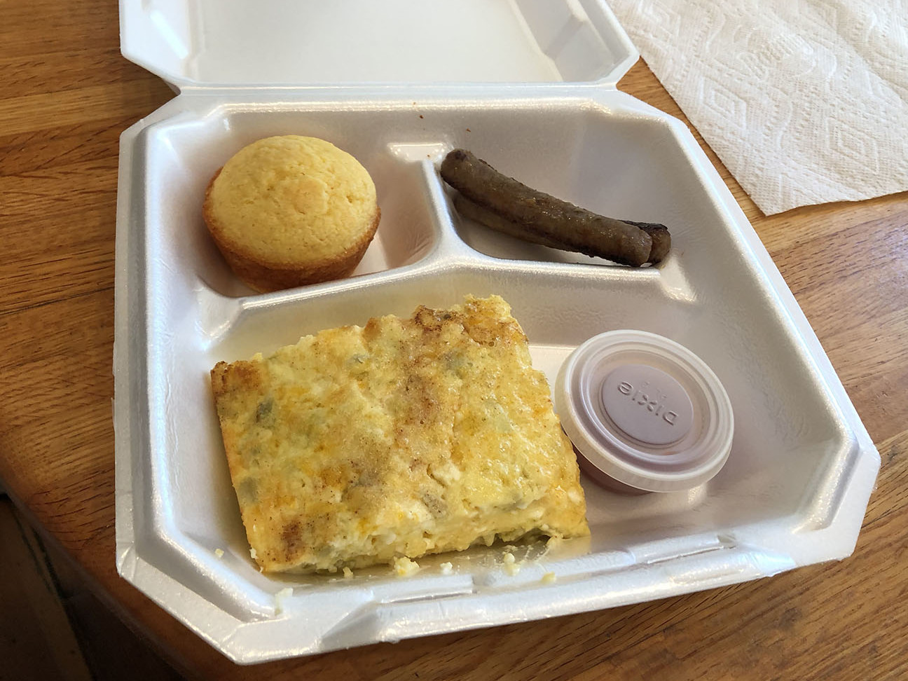 mexican egg casserole served in disposable container