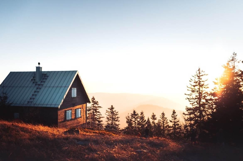 cabin sunset treees