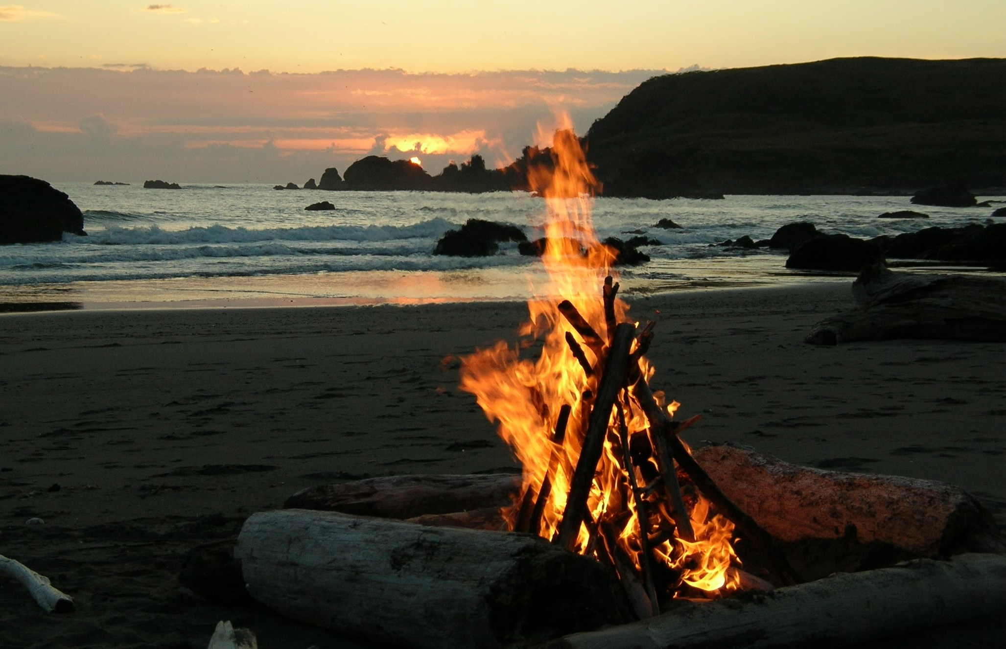 Bonfire Big River Beach Mendocino