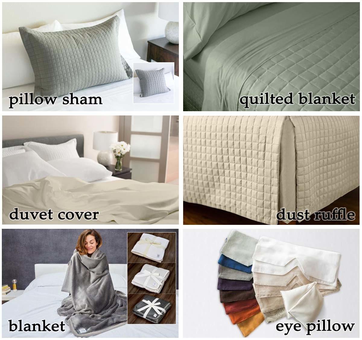 pillow sham, quilted blanket, duvet cover, dust ruffle, blanket, and eye pillow