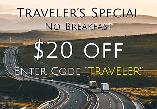 Road with cars - Traveler's Special (no breakfast) $20 off - Enter Code