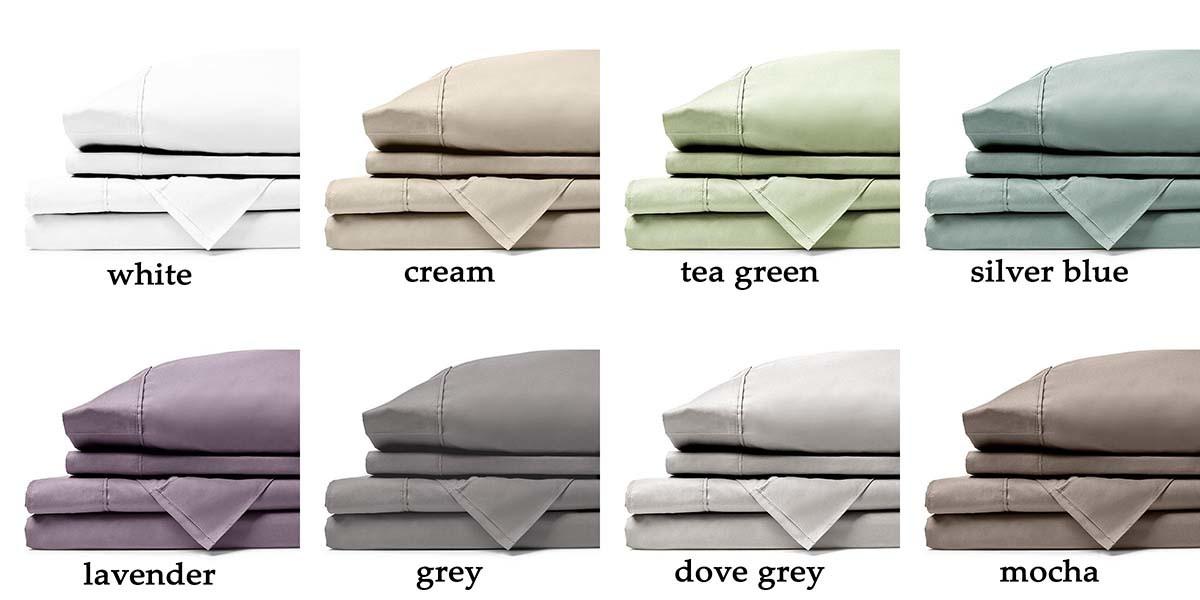 sheet colors white, cream, tea green, silver blue, lavender, grey, dove grey, and mocha