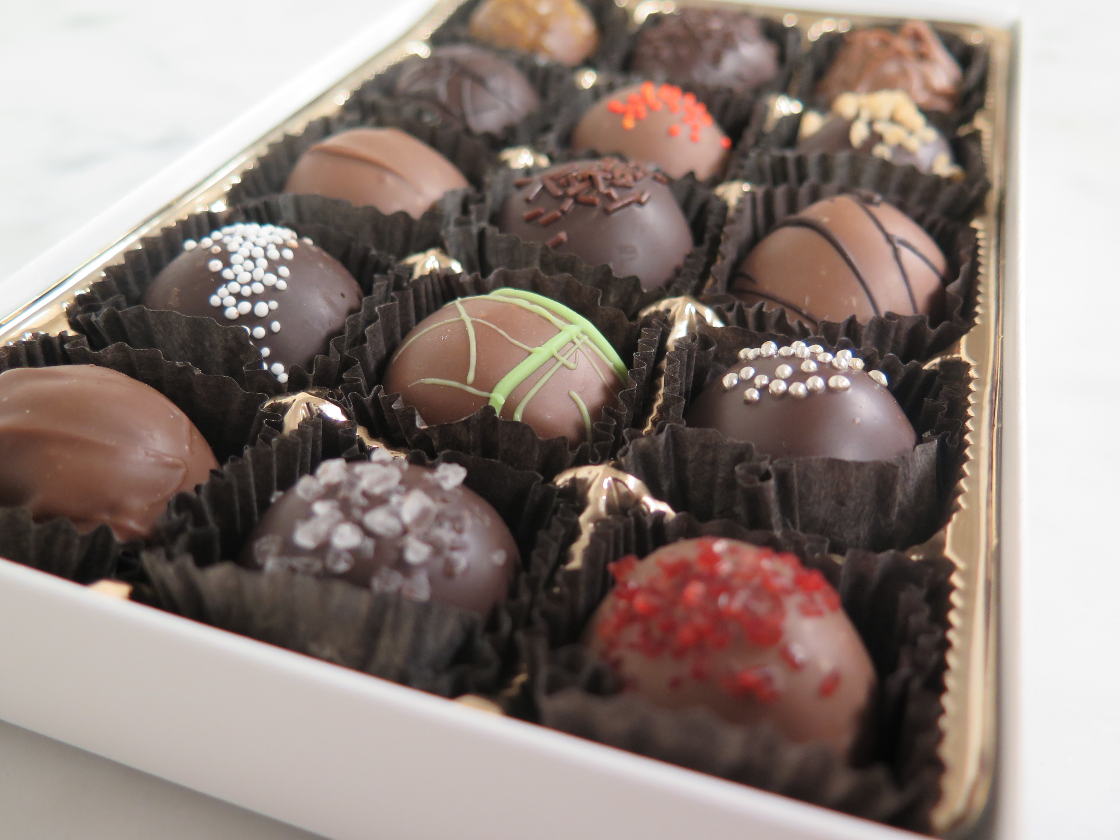 box of gourmet swiss chocolate truffles from Pierres choclates